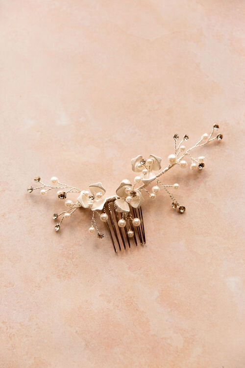 SILVER BLOSSOM HAIR COMB