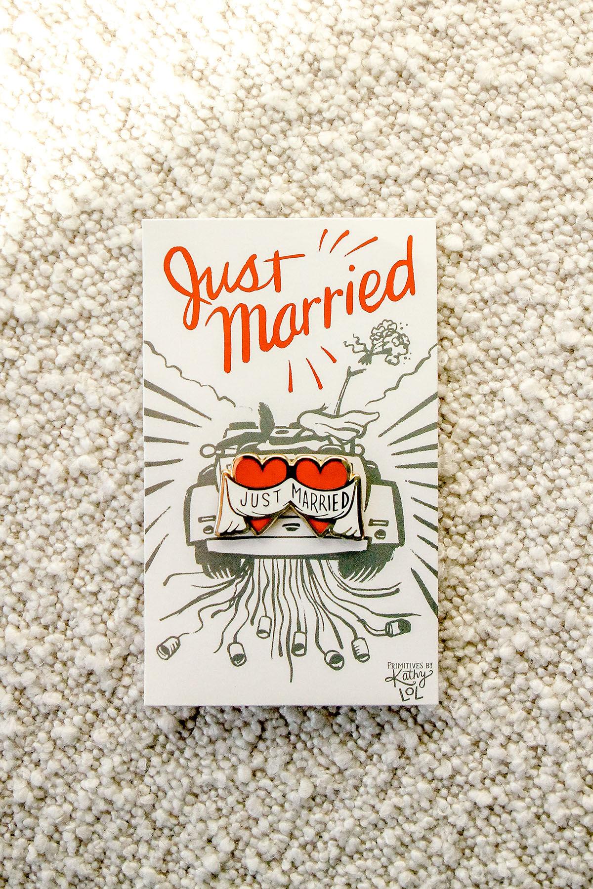 JUST MARRIED ENAMEL PIN
