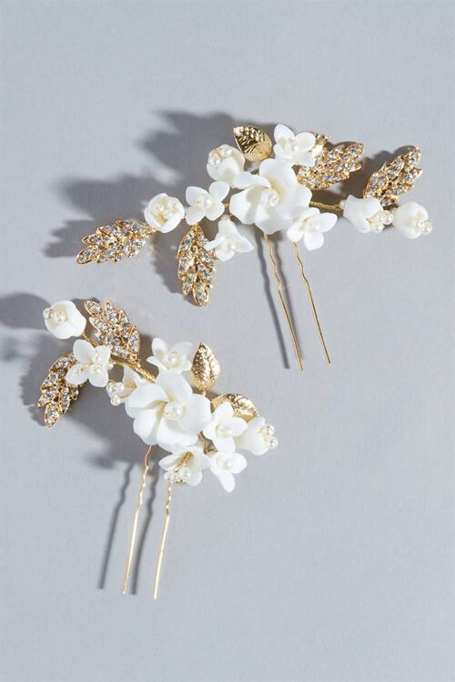 IVORY FLORAL HAIR PINS